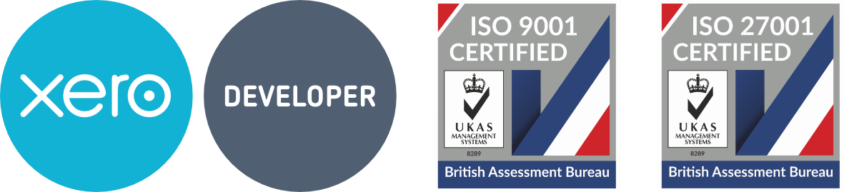 Certified Xero Developer and certified to ISO9001 and ISO27001